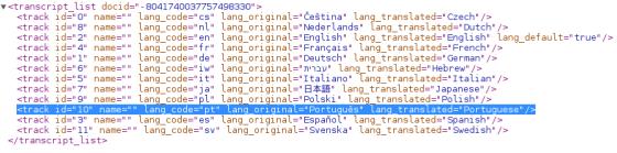 XML listando legendas disponíveis